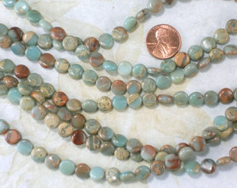 Impression Jasper Snakeskin 8mm Coin Beads Aqua Turquoise, Rust & Sand Brown (5420)