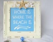 Beachy Decor Nautical Sign w Seashells & Brown Starfish - Home is Where the Beach Is