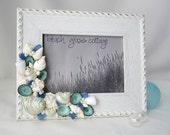 Beach Nautical Decor Seashell & Sea Glass Frame w Rope Trim, 5x7 White w Pastel Mix