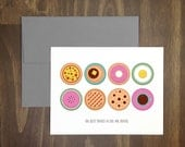 foodie card / the best things in life are round / pizza, sweet treats, delicious circular items / anytime card / blank inside / for foodie