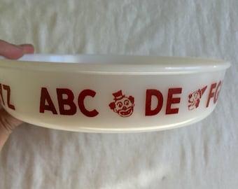 Vintage Hazel Atlas Child's Divided Clown and Alphabet Dish / vintage milk glass / vintage baby dish