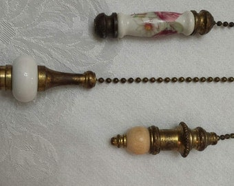 Vintage Brass chains, Decorated with beautiful porcelain, ceramic and wood.