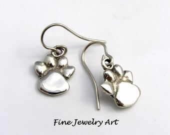 Paw Print Earrings -14K Solid White Gold Handmade Sculpted Drop Dangles on 14k Wires  - Paws Lost Wax Cast by EVB Design Fine Jewelry Art