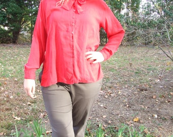 Vintage Red Silk Blouse with Ascot