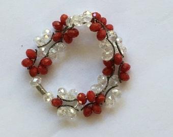 Vintage Patriotic Red & Clear Crystal Bead Bracelet