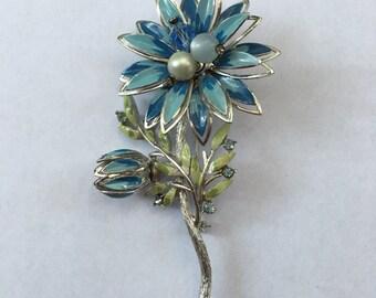 Vintage Large Flower Pin Enamel Rhinestones