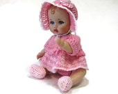 Porcelain Doll Five Inch All Porcelain Dressed in Pink