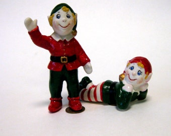 "elves  4"" handcrafted in porcelain  from a vintage mold in green and red for Christmas"