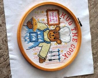 Vintage Sampler Hug the Cook Cross Stitch Completed Kitchen Decoration 1980s