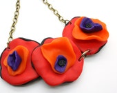 Bright and Bold, Red Flowers Polymer Clay handmade necklace