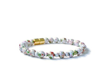 White Picasso Hematite Magnetic Bracelet, Health  and Wellness Jewelry