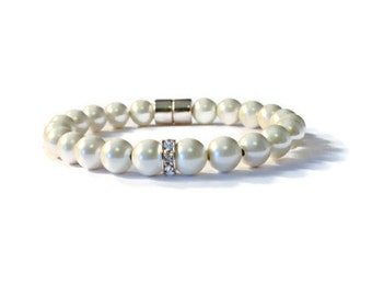 Cream Pearl Magnetic Hematite Therapy Bracelet