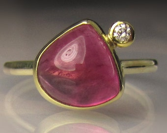 Pink Tourmaline Ring, Rubellite Diamond Ring, 14k Gold and 18k Gold