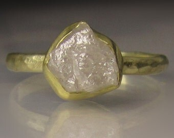 White Raw Diamond Engagement Ring, Recycled 18k and 14k Yellow Gold, Rough Diamond Ring - 2.60CTS Raw Diamond Ring