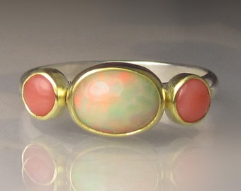 Opal Ring, Ethiopian Opal and Coral Ring, 18k Gold and Sterling Silver Three Stone Ring