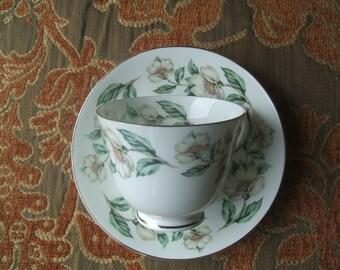 Crown Staffordshire Fine Bone China England Teacup Saucer Set, White Dogwood Blossoms Flowers