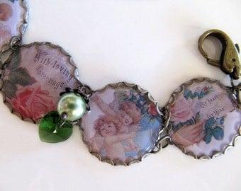 Vintage Tea Tin Charm Bracelet, Victorian Style, Cupid, Flowers and Hearts in Pastel Colors - OOAK Handmade Bracelet, Repurposed Jewlery