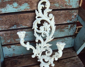 Vintage Shabby Chic Candelabra Wall Sconce Double Candle Holder Baroque Rococo Ornate Repurposed Distressed Chippy French Country