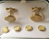 Mens Vintage French Cufflinks Set Cream Pearl w Button links Wedding Groom Tux