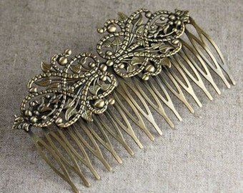 free shipping in UK - 2 pcs Antique Bronze Hair Comb with Filigree