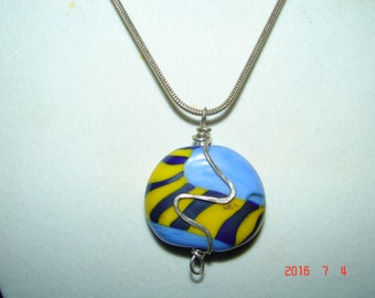 Necklace with handmade glass bead  and sterling silver chain and decoration