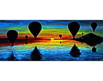 Hot air balloon prints | hot air balloon wall decor | hot air balloon painting | hot air balloon wall art | hot air balloons at sunset art