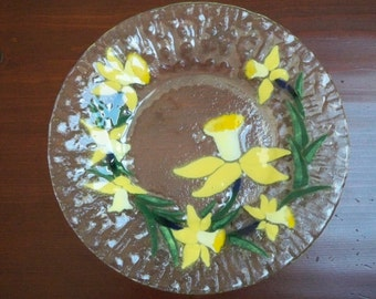Vintage Collectible Glass Fused Glass Jonquil Sydenstricker Plate Numbered Signed Plate