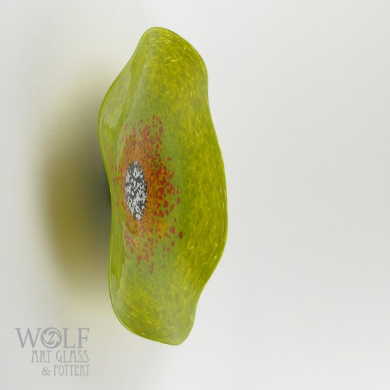 MADE TO ORDER Blown Glass Wall Art Bright Olive Green with Orange Poppy Wall Hanging Decorative Art Glass Sculpture
