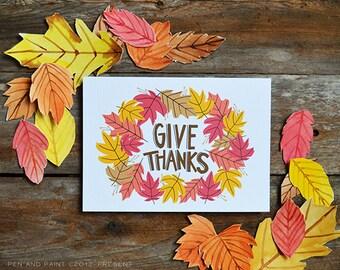 Fall Art, Fall decor, Give Thanks, Happy Fall, Seasonal Decor, Autumn, Illustration, Thanksgiving Art Print, colorful leaves, hand lettering