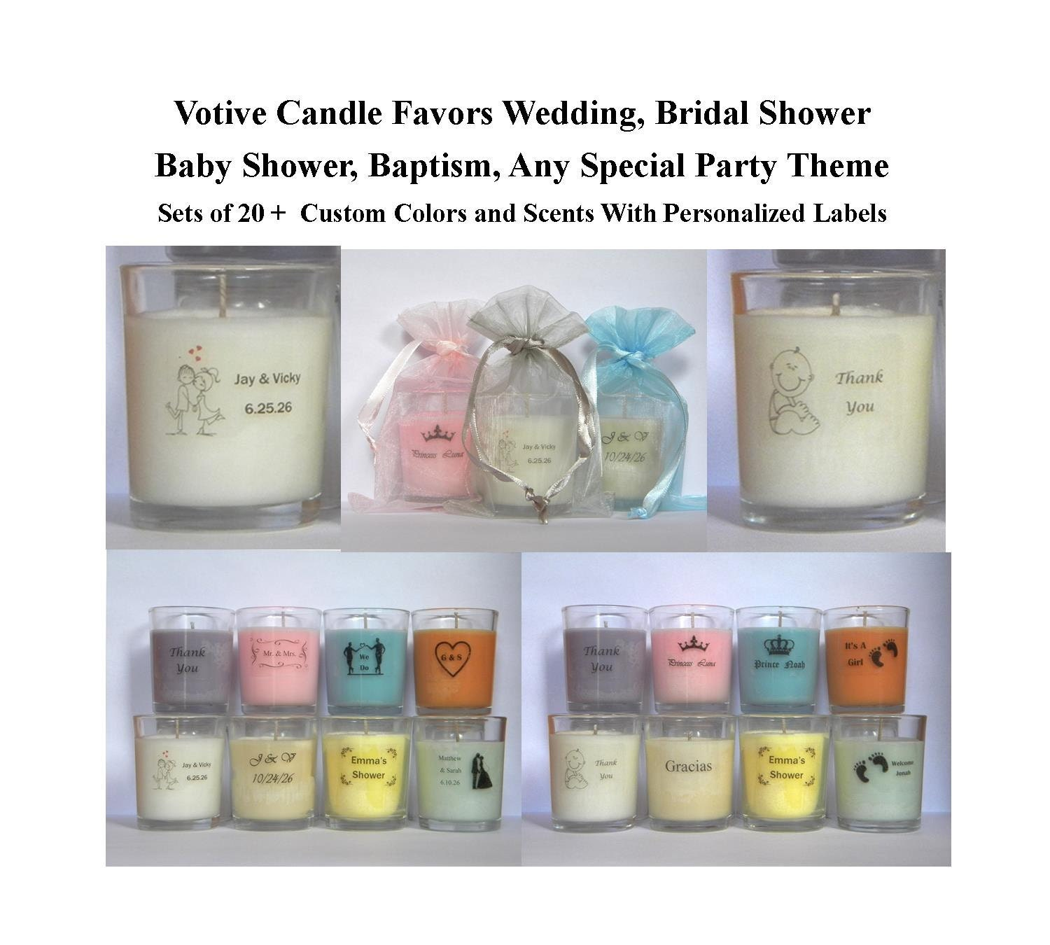 Bridal Shower Favor Sayings For Candles : Wedding Candle Favors Votive Candle Favors Baby Shower