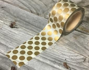 Washi Tape - 30mm - Metallic Copper Dots on White - Deco Paper Tape No. 973