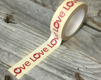 """Washi Tape - 15mm - Red """"Love"""" on Beige - Deco Paper Tape No. 589"""