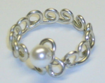 Pearl Band, Purity Ring, Sterling Silver, Handcrafted Setting