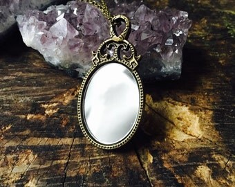 Mirror Pendant Necklace Long Chain Looking Glass Jewelry Snow White Accessory Antique Mirror Brass bronze Fairy Tale Disney