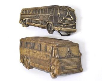 Distressed Vintage Belt Buckle Bus New York Truck Unisex 70s 80s Amtrak greyhound usa
