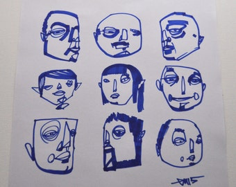 Original Drawing 11x14 Art Artwork Blue Abstract Faces Contemporary Modern Graffiti Urban Street