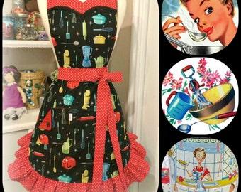 Retro kitchen woman's  sweetheart apron