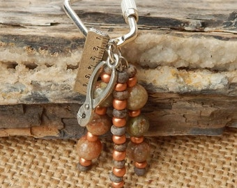Key Ring  ~  Moss Jasper Key Ring with Ruler and Pliers  ~  Carpenters Beaded Key Ring  ~  Handyman Key Ring