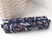 Woodland Navy Blue Floral Pencil Case Blue Boxy Pouch Blue Floral Print
