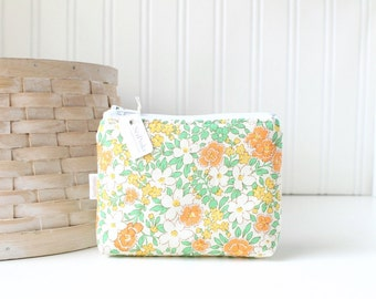 Orange and Green Floral Coin Purse Gift Card Credit Card Holder Floral Zipper Pouch Floral Change Purse