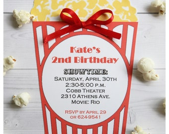 10 drive in Movie Theater Circus Carnival Theme Popcorn birthday invitations  by Palm Beach Polkadots