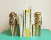 Pair of Vintage Brass Owl Bookends