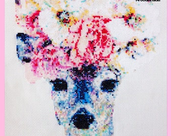 Ophelia the Deer with Flower Crown - CROSS STITCH PATTERN - Instant download