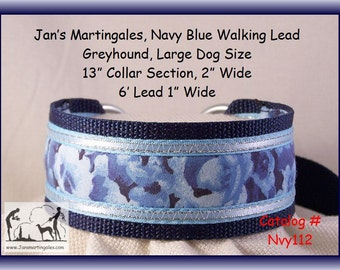 Jan's Martingales, Navy Blue Walking Lead, Collar and Lead Combination, Greyhound, Large Dog Size, Nvy112