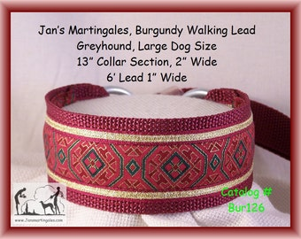 Martingale Dog Collar and Leash Combination Walking Lead, Burgundy, Greyhound, Large Dog Size, Bur126