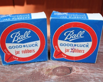 Vintage Ball Split Tab Good Luck Canning Jar Rubbers NOS Lot of 2
