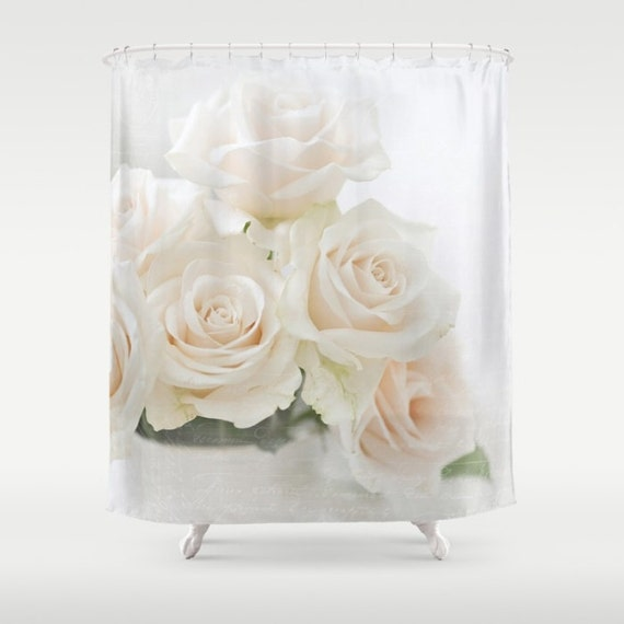 Blush roses Fabric Shower Curtain, white, cream,bathroom,home decor,pastel flowers,nature,typography,floral shower curtain