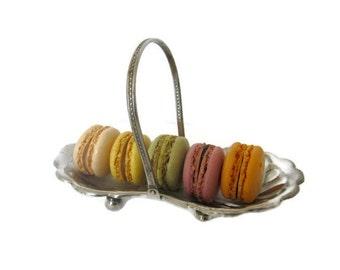 "Antique Spoon Tray or Bonbon Tray Engraved ""Fra Bedstefar 1914"", Danish Translation ""From Grandfather 1914"" Metal Basket with Handle"