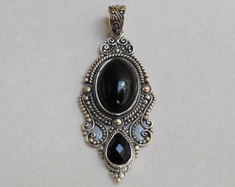 Balinese sterling Silver black onyx pendant / silver 925 / Bali handmade jewelry / 1.75 inch long / (#77p)