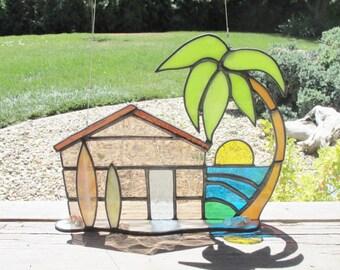 Stained Glass, Beach House, Beach Hut, Surfboard, Glass Sun Catcher, Ocean Art, Surf Hut, Sea Shells, Palm Tree, Glass Suncatcher, Tropical